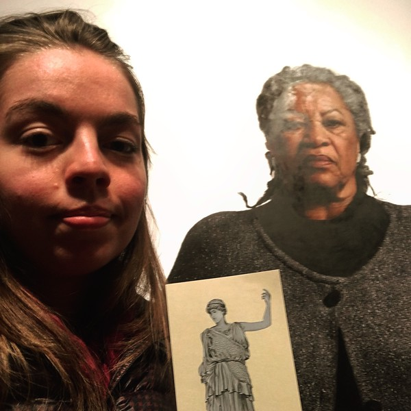 Nora Scheland '15 took #ProjectAthena to @smithsoniannpg to see one of the greatest writers of all time - Toni Morrison. Also, because it's #BlackHistoryMonth 🦎 @bmcflatathena