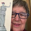 Flat Athena traveled to Denver, Colorado to take a selfie with Gay Greenleaf '61!