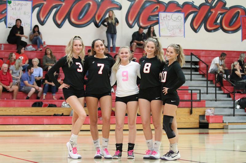 Fallbrook High varsity volleyball players honored Oct. 9 during Senior Night are, from left, Skyler Traut, Gabby Vazzana, Madison McCarty, Madison Nachtsheim and Vanessa Dalton.