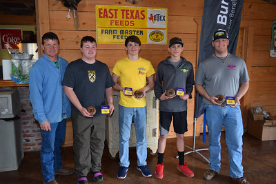 From left to right, Kameron Durr, Vincent Baiamonte, Caleb Brossette and Copper Fetterman's team won 2nd place team overall at the 2018 Louisiana Farm Bureau Sporting Clays Shootout. Pictured with the team is Louisiana Farm Bureau DeSoto Parish President Joey Register.