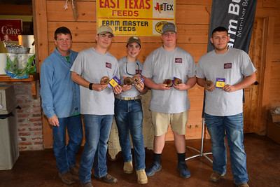 From left to right, Damien Friedman, Joshua Ogden, Josh Colvin and Zack Skipper's team won 3rd place team overall at the 2018 Louisiana Farm Bureau Sporting Clays Shootout. Pictured with the team is Louisiana Farm Bureau DeSoto Parish President Joey Register.