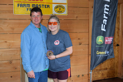 Tristen Owens, right, won 3rd place Adult Shooter at the 2018 Louisiana Farm Bureau Sporting Clays Shootout. Pictured with her is Louisiana Farm Bureau DeSoto Parish President Joey Register.