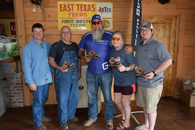 From left to right, Lee Greenm Dwayne Owens, Tristen Owens and Justin Meyers's team won 1st place team overall at the 2018 Louisiana Farm Bureau Sporting Clays Shootout. Pictured with the team is Louisiana Farm Bureau DeSoto Parish President Joey Register.