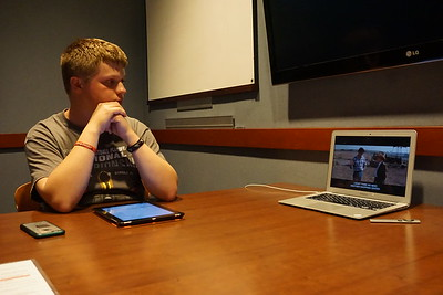 Will Braunlich watches Superman IV in a Tucker Student Center study room for his movie review Youtube channel.