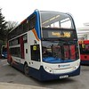 With a friendly wave, Stagecoach ADL Enviro 400 MX08GJE 15453 arrives at Northampton North Gate bus station on the X46 to Raunds, 21.02.2018.