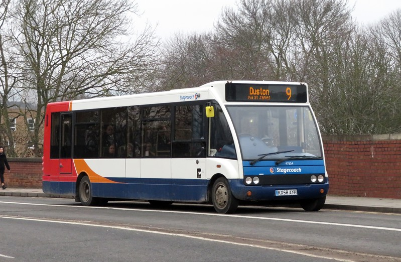 Stagecoach Optare Solo KX58AYH 47654 in Northampton on the 9 to Duston, 21.02.2018.