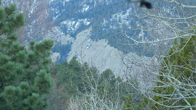Face of man lying on Flatirons