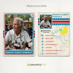 Ancestry DNA Ethnicity Baseball Card for Ben Domenico