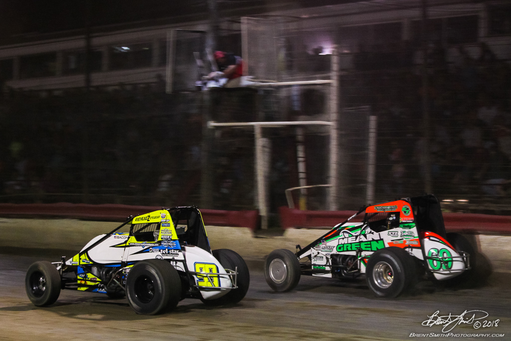 Jesse Hockett Classic - USAC AMSOIL National Sprint Car Championship - Grandview Speedway - 99 Brady Bacon, 69 Kevin Thomas Jr.