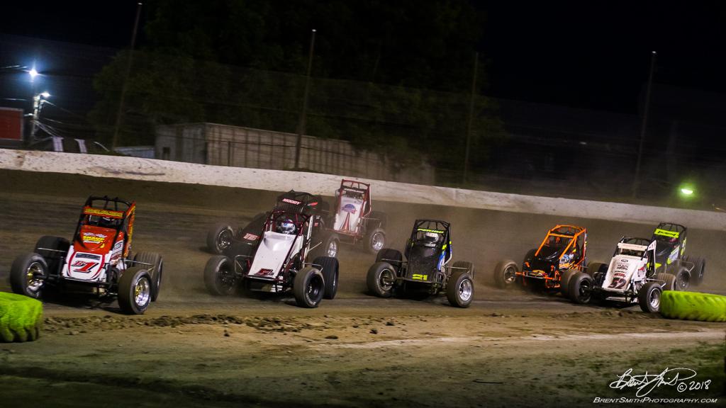 Jesse Hockett Classic - USAC AMSOIL National Sprint Car Championship - Grandview Speedway - B1 Joey Biasi, 5D Zach Daum, 21 Carmen Perigo