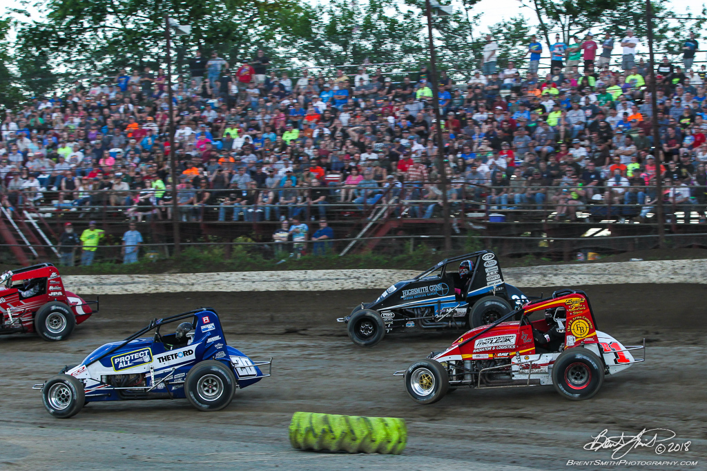 Jesse Hockett Classic - USAC AMSOIL National Sprint Car Championship - Grandview Speedway - 20 Thomas Meseraull, B1 Joey Biasi, 30 CJ Leary