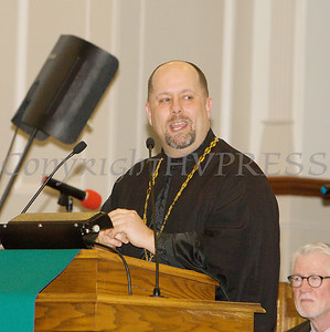 Rev. Stephen Evanina, Pastor of St. Gregory's Church in Wappingers provides the Spoken Word as Bethel Missionary Baptist Church hosted the 30th Annual Martin Luther King, Jr. Community Commemorative Service on Sunday, January 14, 2018. Hudson Valley Press/CHUCK STEWART, JR.
