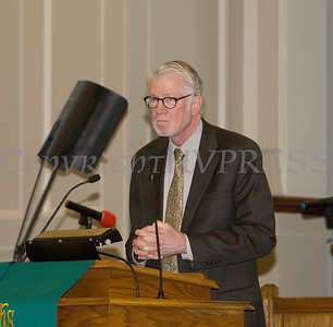 The Rev. William Dalrymple of Community Baptist Church, offers remarks as Bethel Missionary Baptist Church hosted the 30th Annual Martin Luther King, Jr. Community Commemorative Service on Sunday, January 14, 2018. Hudson Valley Press/CHUCK STEWART, JR.