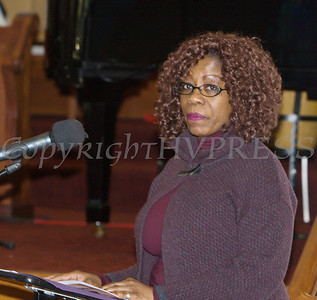 Dorena Robinson, President of the Black History Ministry offers the welcome to those attending the Bethel Missionary Baptist Church hosted 30th Annual Martin Luther King, Jr. Community Commemorative Service on Sunday, January 14, 2018. Hudson Valley Press/CHUCK STEWART, JR.