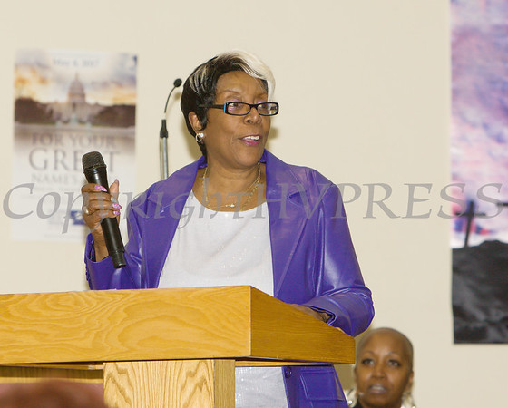 City of Poughkeepsie Councilperson Lorraine Johnson (Ward 3) offers remarks for the Dutchess County African American Clergy Association's 49th Annual Commemorative Service on Sunday, January 14, 2018 at Beulah Baptist Church in Poughkeepsie, NY. Hudson Valley Press/CHUCK STEWART, JR.
