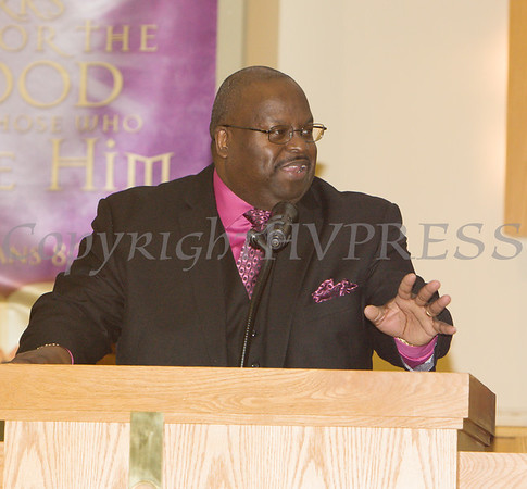 Rev. Dr. Richard P. Butler with the Offertory Appeal and Prayer during the Dutchess County African American Clergy Association's 49th Annual Commemorative Service on Sunday, January 14, 2018 at Beulah Baptist Church in Poughkeepsie, NY. Hudson Valley Press/CHUCK STEWART, JR.