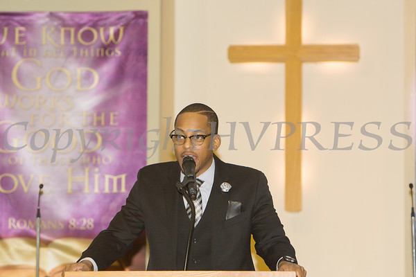 Rev. Weldon McWilliams, IV was the Guest Speaker for the Dutchess County African American Clergy Association's 49th Annual Commemorative Service on Sunday, January 14, 2018 at Beulah Baptist Church in Poughkeepsie, NY. Hudson Valley Press/CHUCK STEWART, JR.