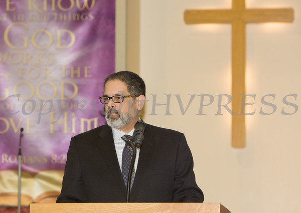 Elder John Perez gives the Statement of Purpose for the Dutchess County African American Clergy Association's 49th Annual Commemorative Service on Sunday, January 14, 2018 at Beulah Baptist Church in Poughkeepsie, NY. Hudson Valley Press/CHUCK STEWART, JR.