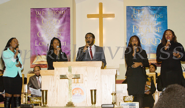 """""""Inspired"""" offers a musical selection during the Dutchess County African American Clergy Association's 49th Annual Commemorative Service on Sunday, January 14, 2018 at Beulah Baptist Church in Poughkeepsie, NY. Hudson Valley Press/CHUCK STEWART, JR."""