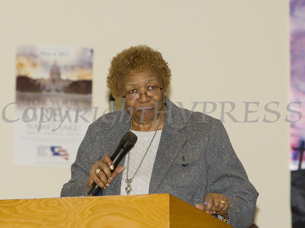 Durchess County Legislative Minority Leader Barbara Jeter-Jackson offers remarks during the Dutchess County African American Clergy Association's 49th Annual Commemorative Service on Sunday, January 14, 2018 at Beulah Baptist Church in Poughkeepsie, NY. Hudson Valley Press/CHUCK STEWART, JR.