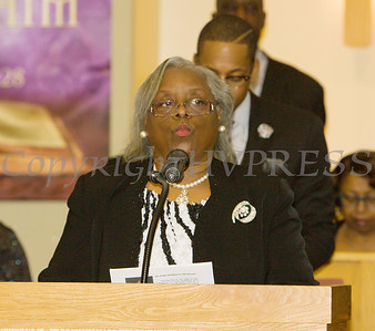 Rev. Sara Streeter McRae recites the Litany of Commemoratioin for the Dutchess County African American Clergy Association's 49th Annual Commemorative Service on Sunday, January 14, 2018 at Beulah Baptist Church in Poughkeepsie, NY. Hudson Valley Press/CHUCK STEWART, JR.
