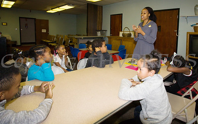 Shawna Newkirk-Reynolds leads a workshop for kindergarten to second graders as the Black History Committee of the Hudson Valley held its 49th Annual Martin Luther King Jr Celebration on Monday, January 15, 2018 at First United Methodist Church in Newburgh, NY. Hudson Valley Press/CHUCK STEWART, JR.