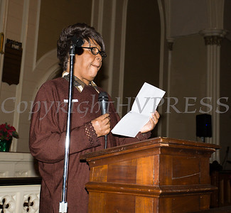 Celeste King offers the Statement of Purpose as the Black History Committee of the Hudson Valley held its 49th Annual Martin Luther King Jr Celebration on Monday, January 15, 2018 at First United Methodist Church in Newburgh, NY. Hudson Valley Press/CHUCK STEWART, JR.