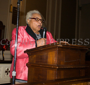 Roxy Royal offers greetings on behalf of the NAACP - Newburgh/Highland Falls Chapter as the Black History Committee of the Hudson Valley held its 49th Annual Martin Luther King Jr Celebration on Monday, January 15, 2018 at First United Methodist Church in Newburgh, NY. Hudson Valley Press/CHUCK STEWART, JR.