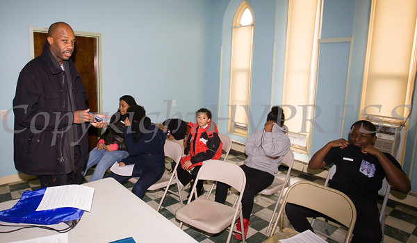 Dannie Dalton leads a workshop for 6th-8th graders as the Black History Committee of the Hudson Valley held its 49th Annual Martin Luther King Jr Celebration on Monday, January 15, 2018 at First United Methodist Church in Newburgh, NY. Hudson Valley Press/CHUCK STEWART, JR.