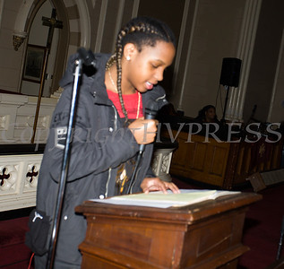 Candacee Nicholas reads the Litany as the Black History Committee of the Hudson Valley held its 49th Annual Martin Luther King Jr Celebration on Monday, January 15, 2018 at First United Methodist Church in Newburgh, NY. Hudson Valley Press/CHUCK STEWART, JR.