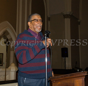 Rev. Nelson McAllister offers greetings on behalf of the Christian Ministerial Fellowship as the Black History Committee of the Hudson Valley held its 49th Annual Martin Luther King Jr Celebration on Monday, January 15, 2018 at First United Methodist Church in Newburgh, NY. Hudson Valley Press/CHUCK STEWART, JR.