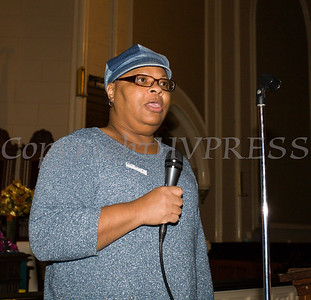 Deconess Patty Nelson presents information on Breast Cancer Awareness as the Black History Committee of the Hudson Valley held its 49th Annual Martin Luther King Jr Celebration on Monday, January 15, 2018 at First United Methodist Church in Newburgh, NY. Hudson Valley Press/CHUCK STEWART, JR.