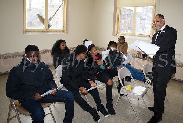 Elijah Beamon leads a workshop for 9th-12th graders as the Black History Committee of the Hudson Valley held its 49th Annual Martin Luther King Jr Celebration on Monday, January 15, 2018 at First United Methodist Church in Newburgh, NY. Hudson Valley Press/CHUCK STEWART, JR.