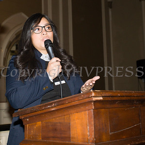 Laura Garcia with the Orange County YWCA introduces Breast Cancer workshop facilitators as the Black History Committee of the Hudson Valley held its 49th Annual Martin Luther King Jr Celebration on Monday, January 15, 2018 at First United Methodist Church in Newburgh, NY. Hudson Valley Press/CHUCK STEWART, JR.