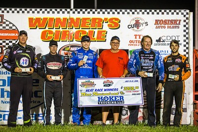 Heat race winners (L-R) Chad Simpson, Gregg Satterlee, Hudson O'Neal, Scott Bloomquist and Ricky Weiss