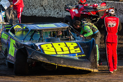 Josh Richards (R) and Tyler Bruening (in car)