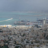 A panorama of Haifa city from the Bah'ai Gardens overlook