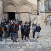 Crowds gather in the plaza outside the Church of the Holy Sepulcher, where according to tradition was built over the tomb where Christ was buried and resurrected from the dead. This unassuming building is the most sacred site in all of Christianity