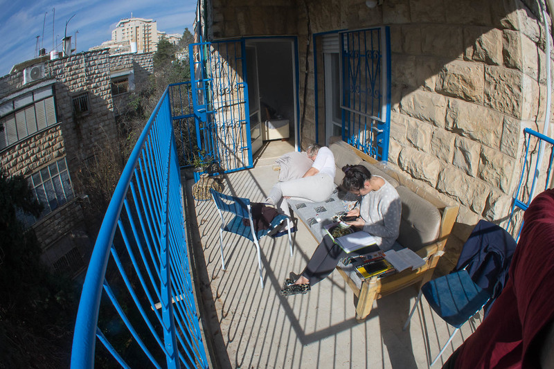 "We arrived in Jerusalem on January 2nd. Both Shell and I came down with cases of ""King George's revenge"", actually colds while in England. Soaking up the sun on Liana's balcony was just what the doctor ordered"