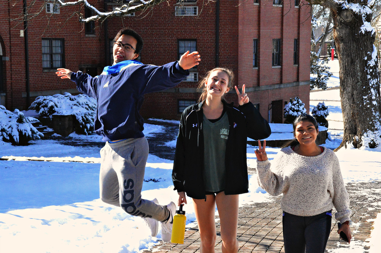 Josh Parks, Hannah Jones and Naomi Pascual are over-joyed by a second Snow Day!