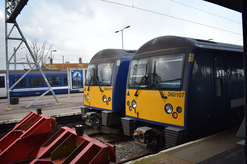 Greater Anglia Class 360 Desiros nos. 360107 and 360101 at Clacton-on-Sea, 03.01.2018.