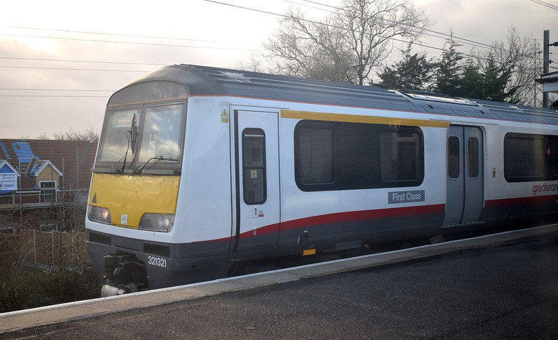 Greater Anglia Renatus refurbished Class 321 no. 321321 at Thorpe Le Soken on a Walton on the Naze service, 03.01.2018.