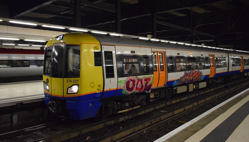 Graffiti victim London Overground Class 378 Electrostar no. 378227 at London Euston on a Watford service, 04.01.2018.
