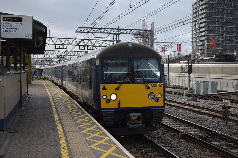 Greater Anglia Class 360 Desiro no. 360107 arriving at Stratford with my train to Clacton, 03.01.2018.
