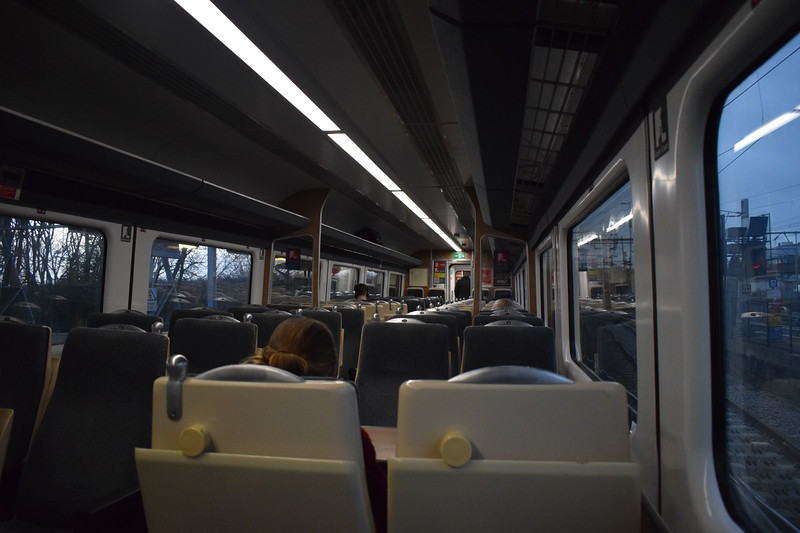 Greater Anglia Mark III carriage interior leaving Colchester on a London Liverpool Street service, 03.01.2018.