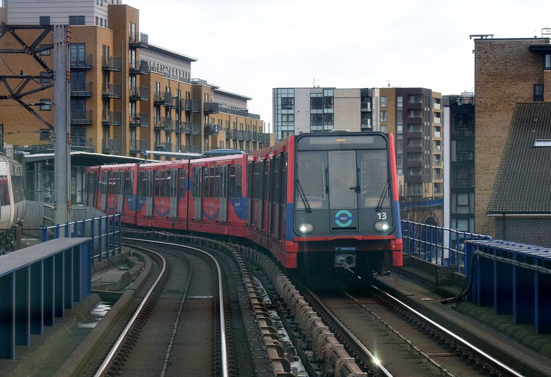 Docklands Light Railway B2K Stock no. 13 leaving Limehouse on a Bank service, 03.01.2018.