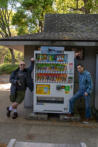 Linus and Michael pose with BOSS HAWAII vending machine