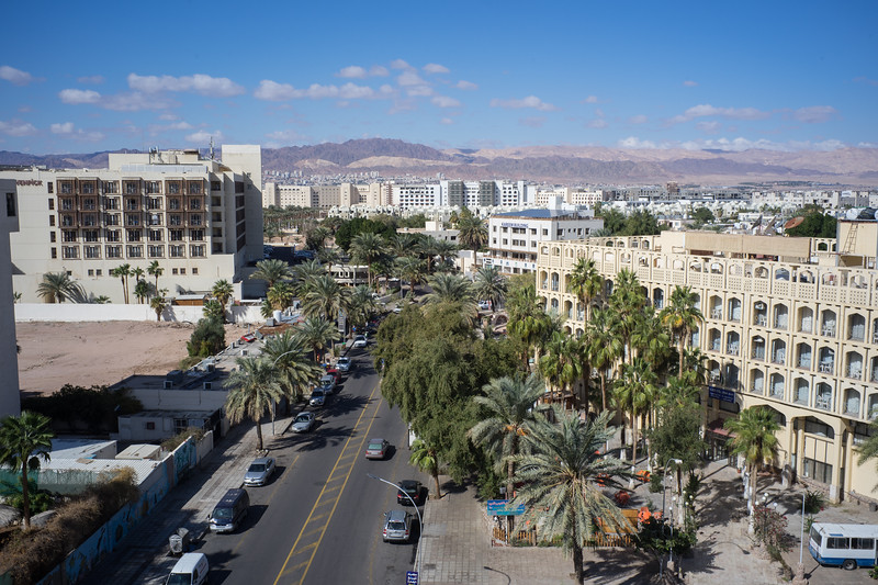 "Sunday, Jan. 28: A view of Al-Nahada Street in Aqaba Jordan from the roof of ""My Hotel"" where we booked a room for a few nights. Aqaba is the only coastal city in Jordan and its only seaport. It has a population of about 150,000."