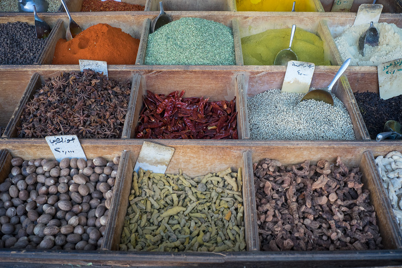In the local market, we found this colorful display of spices