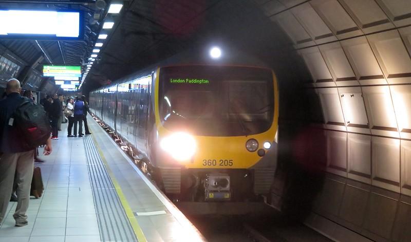TfL Rail (former Heathrow Connect) Class 360 Desiro no. 360205 at Heathrow Terminal 4 on a Paddington service, 07.07.2018.